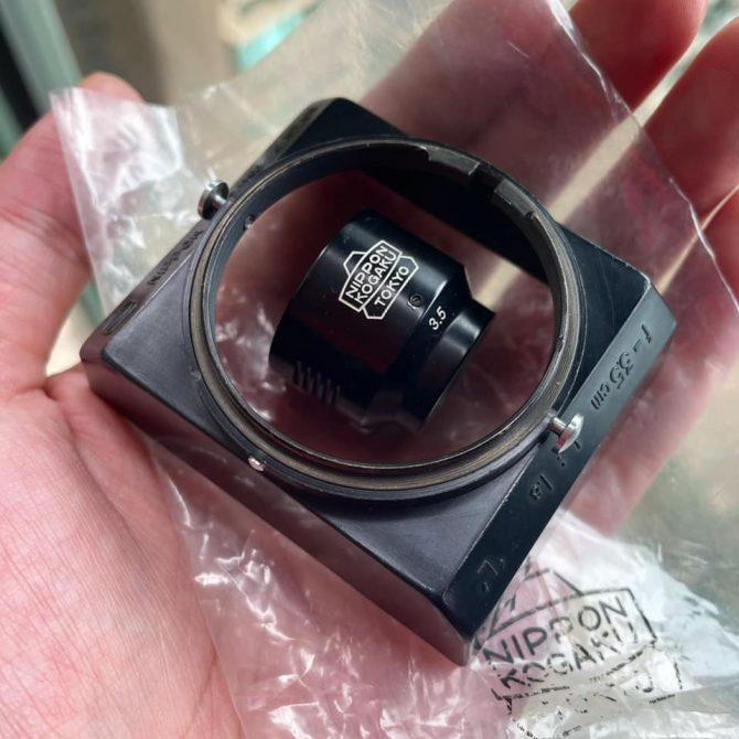 """珍品 Nikon 3.5cm viewfinder and """"Square""""  hood black paint for 35/1.8"""