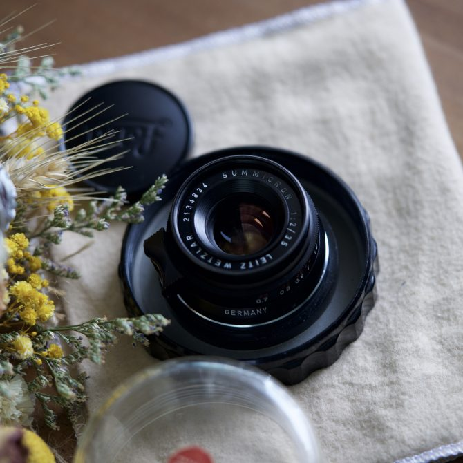 """珍品  Leica Summicron 35/2 """"8elements"""" Black Paint Red Scale"""